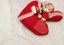 Handmade jewelry on Valentine`s Day Stock Photos