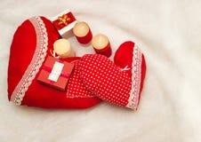 Handmade jewelry on Valentine`s Day Stock Photography
