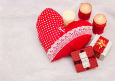 Handmade jewelry on Valentine`s Day Royalty Free Stock Images