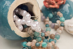 Handmade jewerly selective focus. Closeup royalty free stock image