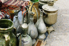 Handmade Jugs And Samovar Royalty Free Stock Images