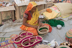 Handmade jute bags , Indian handicrafts fair at Kolkata Royalty Free Stock Photos