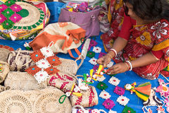 Handmade jute dolls , Indian handicrafts fair at Kolkata Royalty Free Stock Photos