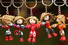 Handmade key chains. Handmade toy Key chains are on display for sale Stock Photos