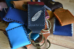 Handmade key ring made from leather Stock Photo