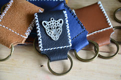 Handmade key ring made from leather Stock Photography