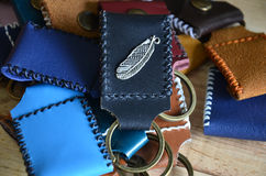 Handmade key ring made from leather Royalty Free Stock Photography