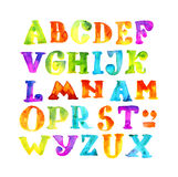 Handmade kid watercolor alphabet. Paint grunge color letters. child bright ABC Stock Photo