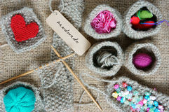 Handmade, knit, knitting, art hobby, lovely creatve. Handmade product from fibre, hand made basket make from knit, knitting heart, leisure with art hobby, lovely Royalty Free Stock Images