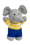 Handmade knit toy, elephant. Isolated on white Stock Photos