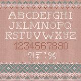 Handmade knitted abstract background pattern font alphabet abc letters, numbers,. Vector illustration Handmade knitted abstract background pattern with font Stock Image