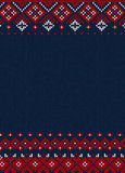 Handmade knitted abstract background pattern with scandinavian o Royalty Free Stock Images