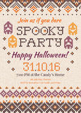 Handmade knitted background pattern Halloween Party Invitation w. Vector illustration Handmade knitted background pattern Halloween Party Invitation with Royalty Free Stock Photo