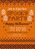 Handmade knitted background pattern Halloween Party Invitation w Stock Image