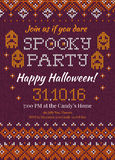 Handmade knitted background pattern Halloween Party Invitation w. Vector illustration Handmade knitted background pattern Halloween Party Invitation with Stock Photography