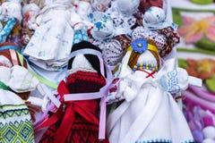Handmade knitted dolls royalty free stock photos