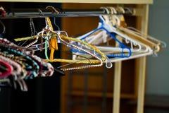 Handmade knitted hanger on a Rack Stock Image