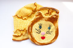 Handmade knitted hat and bag in a view of cat Royalty Free Stock Image