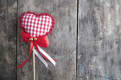Handmade  knitted heart shape Stock Photography