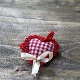 Handmade knitted heart shape Royalty Free Stock Photography