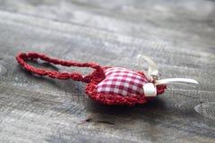 Handmade knitted heart shape Royalty Free Stock Image