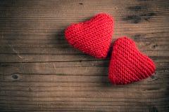 Handmade knitted hearts Royalty Free Stock Photos