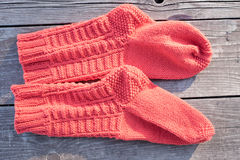 Handmade knitted Socks Stock Photography
