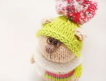 Handmade knitted toy. Knitted bear close-up in color sweater and green cap with color pompom on white background. Knitted bear close-up in color sweater and Stock Images