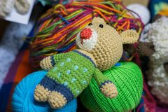 Handmade knitted toys made with handcraft wool royalty free stock images