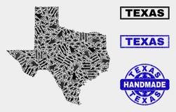 Handmade kolaż Teksas stanu mapa i Grunge znaczek ilustracji
