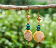 Handmade kolczyki turkusy i matki perła Obraz Stock
