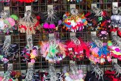 handmade kolorowy tkanina kształta kluczowego łańcuchu obwieszenie Fotografia Stock