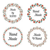 Handmade labels with wreaths Stock Photos