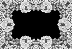 Handmade lace doily on a black Stock Photo