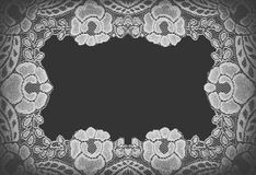Handmade lace doily on a black Royalty Free Stock Image