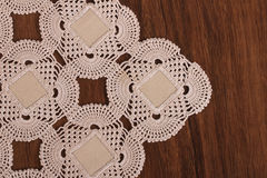 Handmade Lace on the Wood Stock Photography