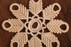 Handmade Lace on the Wood Royalty Free Stock Photo