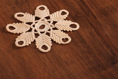 Handmade Lace on the Wood Stock Images