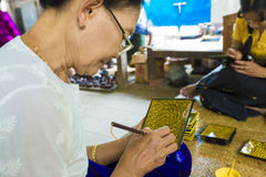 Handmade Lacquer Ware. The traditional way of handmade lacquer ware Royalty Free Stock Photography
