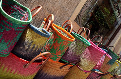 Handmade lady bags shown on street Royalty Free Stock Images