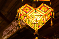 Handmade lamp under ceiling Royalty Free Stock Photography