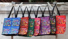 Handmade Lao Craft Shopping Bags From Luang Prabang royalty free stock images