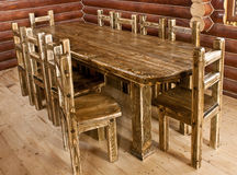 Handmade large kitchen table Stock Image