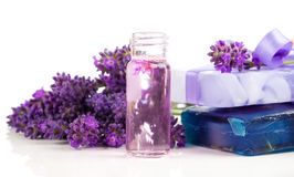 Handmade lavender oil and soap with fresh lavender Royalty Free Stock Photos