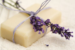 Handmade lavender soap Stock Photography