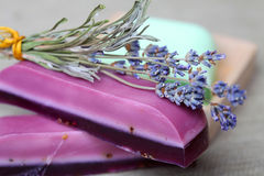 Handmade lavender soap bars and lavender Stock Images
