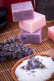 Handmade lavender soap and bath salt wellness spa Stock Photos