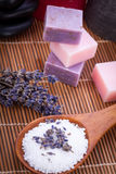 Handmade lavender soap and bath salt wellness spa Royalty Free Stock Photos