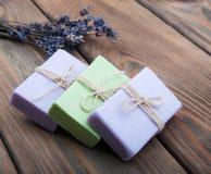 Handmade lavender soap Royalty Free Stock Photo