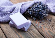 Handmade lavender soap Stock Photography